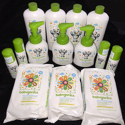 BABYGANICS Huge Lot Baby Wipes Hand Sanitizer Refill Bottles Free Priority