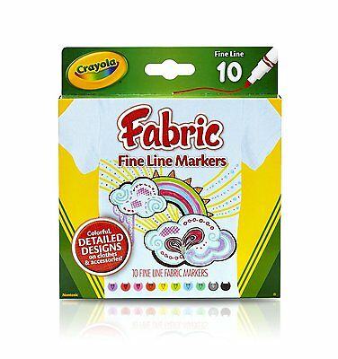 Crayola Fabric Fine Line Markers  10  Markers Bnip