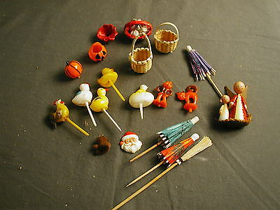 VINTAGE CAKE TOPPERS - 17+ - WOODEN AND PLASTIC - HALLOWEEN, EASTER ETC x bs