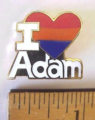 """""""i Love Adam"""" Heart Shaped Gift Creations New Old Stock Pin"""