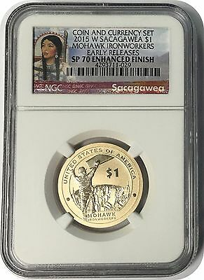 2015 W Sacagawea Mohawk Ironworkers Coin NGC Early Release SP70 Enhanced Finish