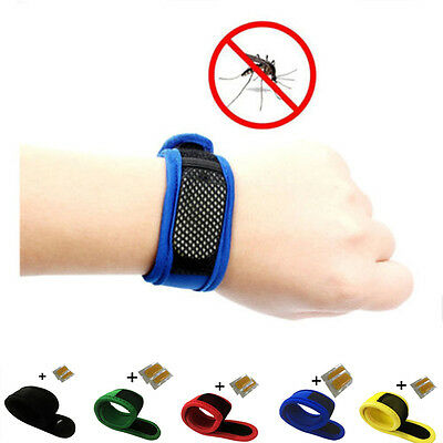 Anti Mosquito Bug Insect Repellent Bracelet Wrist Band &2 Repellent Refills Hot