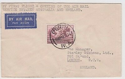 Stamp 1934 Australia 1/6 pink Hermes on plain cover sent airmail to England