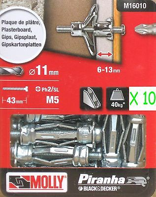 10 Molly M5 Metal 36mm Cavity Wall Fixing Plasterboard Hollow Anchor Plugs Screw