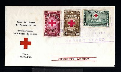 12338-NICARAGUA-AIRMAIL FIRST DAY COVER NICARAGUA.1944.WWII.RED CROSS.Aereo.1º