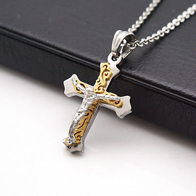 Stainless Steel Catholic Crucifix Jesus Cross Pendant Necklace Silver#1