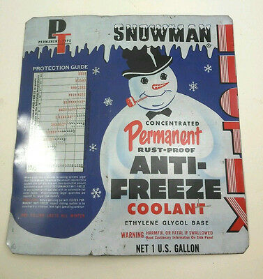 VINTAGE SNOWMAN Permanent Rust-Proof ANTI-FREEZE Coolant Metal SIGN Collectible
