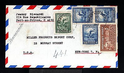 12332-HAITI-AIRMAIL REGISTERED COVER PORT au PRINCE to NEW YORK (usa)1947.WWII.