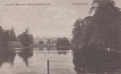 China Temple Pool River Surrounding Enville Hall Staffs Old Antique Postcard