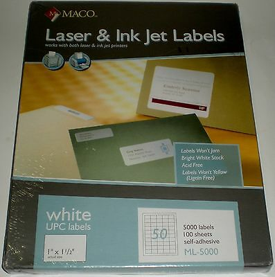 "Printer Label Paper Maco Laser Ink Jet 1"" X 1 1/2"" 50 Per Page Ml-5000 Upc New"
