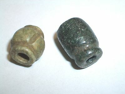 Two carved MAYAN Jadeite Beads Genuine 600-900 A.D.