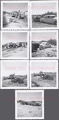 Lot of 7 Vintage Photos Ford 9N Farming Tractor Towing 1949 Ford Car 688065