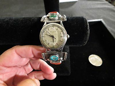 R H Y Sterling Silver Turquoise Coral Watch Band Navajo Jewelry 925 Southwestern