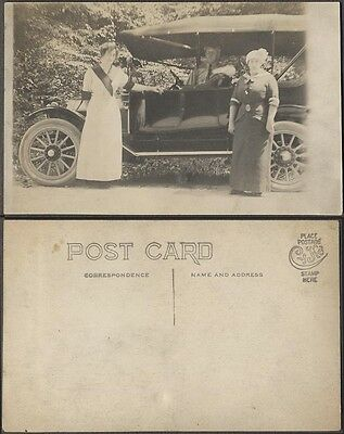 Vintage RPPC Photo Postcard Man & Women 1913 Overland Model 69T Car 688934