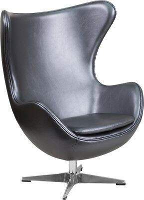 Flash Furniture Gray Leather Egg Chair with Tilt-Lock Mechanism