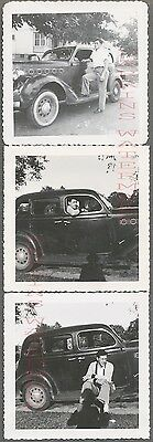 Lot of 3 Vintage Car Photos Man w/ 1935 Plymouth Automobile 697332