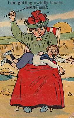 Child Being Whipped By Fat Lady Punishment Antique Comic Humour Postcard