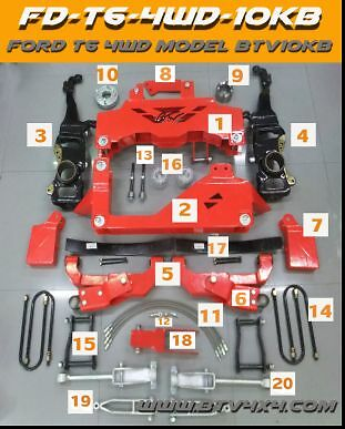 """FORD RANGER PX 4WD 2012/2016  10"""" inch  Heavy Duty suspension lift kit."""