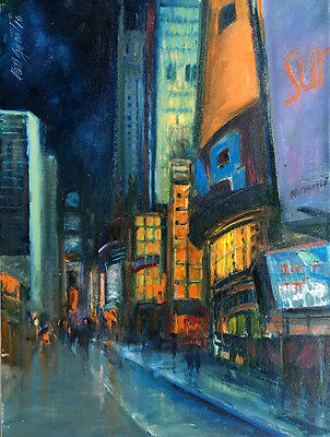 Times Square Night New York City 16x12 in. Oil on canvas Hall Groat Sr.