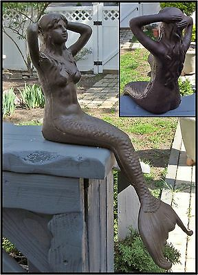 SITTING MERMAID Cast Iron STATUE SCULPTURE ~ Antiqued Rust ~ Nautical Fantasy