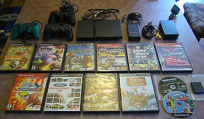 playstation 2 ps2 slim console 12 games lot tested must see