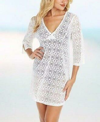 06399cccbd1 LANDS' END M, L, XL White Cotton Lawn Eyelet Tunic Cover-up NWT $75 ...
