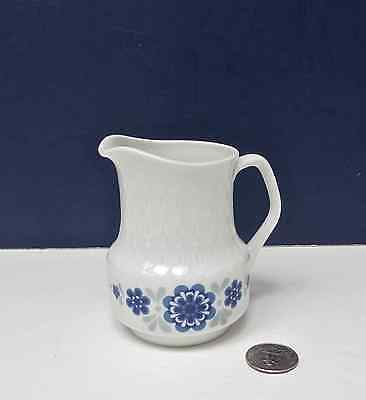 "Mitterteich Bavaria 4"" Porcelain Pitcher Embossed White w Cobalt Blue Flowers"