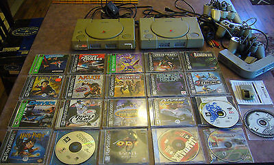playstation 1 ps1 2x console + 22 games lot tested must see