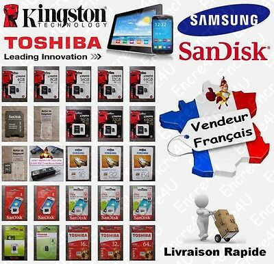 Carte Mémoire MicroSD KINGSTON SAMSUNG SANDISK TOSHIBA 4 8 16 32 64 Go au choix