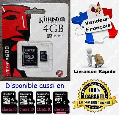 KINGSTON Micro SD SDHC 4 Go Carte Mémoire Class 4 - Dispo aussi en 8 16 32 64 Gb
