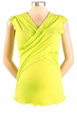 New JAPANESE WEEKEND Maternity Clothes Nursing Cross Front Bold Lime Top S 6 8