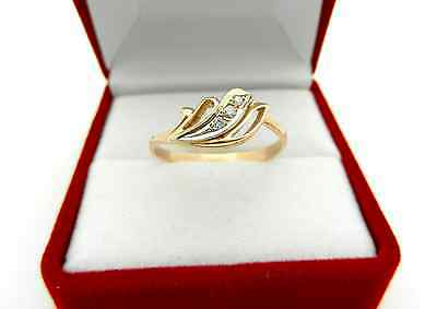 Russian 585 (14k) Rose Pink Gold Ring with Natural  Diamonds Accent size 7.75