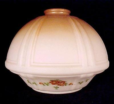 Bridge Lamp Shade White Satin Brown Embossed Floral Pendant Light Early Style