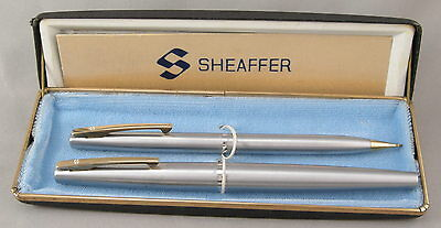 Sheaffer Stylist Tip-Dip Brushed Chrome Fountain Pen & Pencil Set In Box - c1966