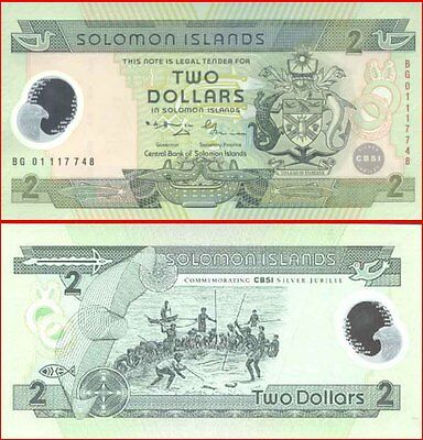 Solomon Islands Mint First $2 Polymer Silver Jubilee 25th Anniversary Issue p23