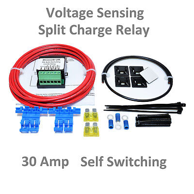 Motor Home Self Switching, Voltage Sensing Split Charge Relay Kit - 12V, 30 Amp