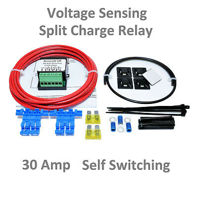 CAMPER VAN VOLTAGE SENSING RELAY KIT, SELF SWITCHING SPLIT CHARGE Kit -30A  6mtr