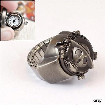 3 Colors Unisex Pirate Skull Finger Ring Quartz Pocket Watch Cosplay Jewelry BF