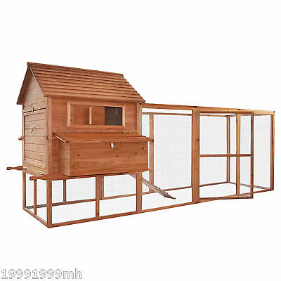 PawHut Large Wooden Chicken Coop Poultry Goose Pet House Run Nest Box Backyard