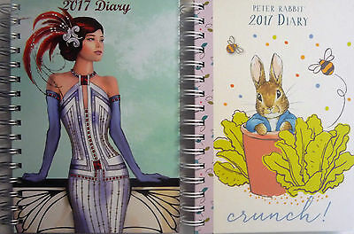 2017 Hardback Ring Bound Week to View A5 Diary (Peter Rabbit or Art Deco)