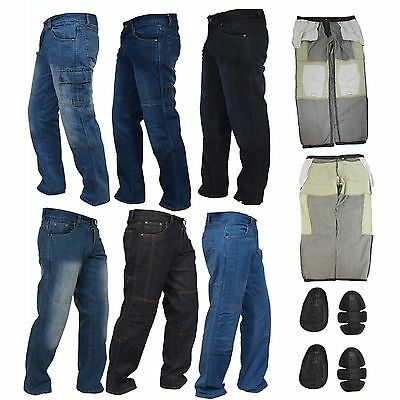 Mens Motorbike Jeans Motorcycle Denim Trousers with Aramid Protective Lining US