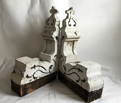 1890's Antique Pair(2) Wood Corbels Brackets Victorian Gingerbread Chic White B5