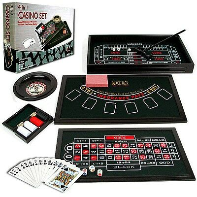 4 in 1 Casino Game Table Roulette Craps Poker BlackJack 19 x 11 Inches