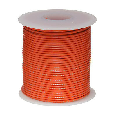 "24 AWG Gauge Stranded Hook Up Wire Orange 25 ft 0.0201"" UL1007 300 Volts"