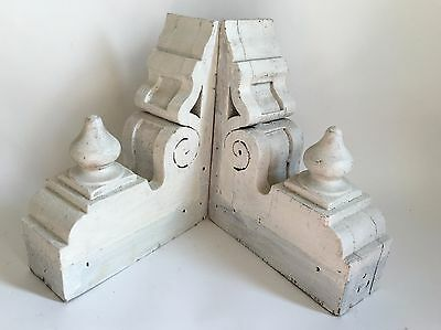 Antique Pair(2) 1890's Wood Corbels Brackets Victorian Gingerbread White Chic A4