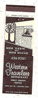 Western Travelers Restaurant 16900 Hwy 90 Houston TX Matchcover 080116
