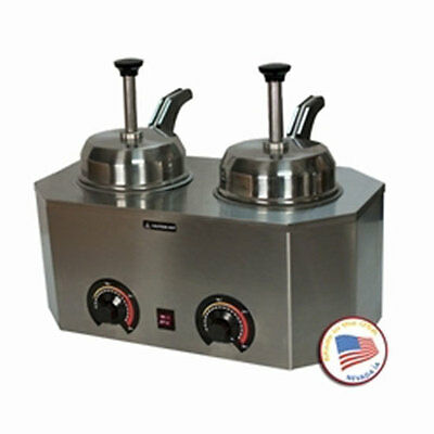Nacho Cheese Dispenser Warmer Paragon 2029D Backside Heated Spouts Hot Fudge