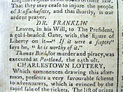 1790 newspaper BENJAMIN FRANKLIN wills his LIBERTY CANE to GEORGE WASHINGTON