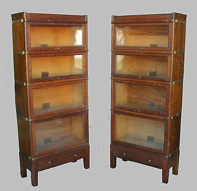 Pair of Oak 4-High Antique Barrister Bookcases 3/4 Size Width Globe Wernicke