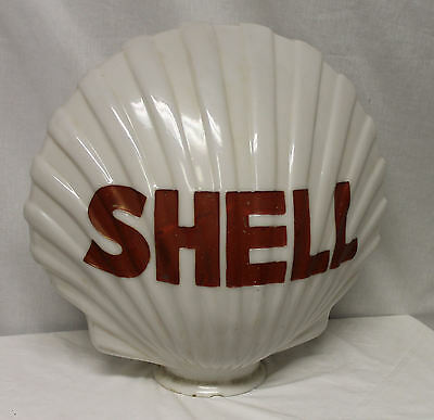 Antique 1930s-40s Shell Advertising gas pump globe one-piece clamshell-shaped
